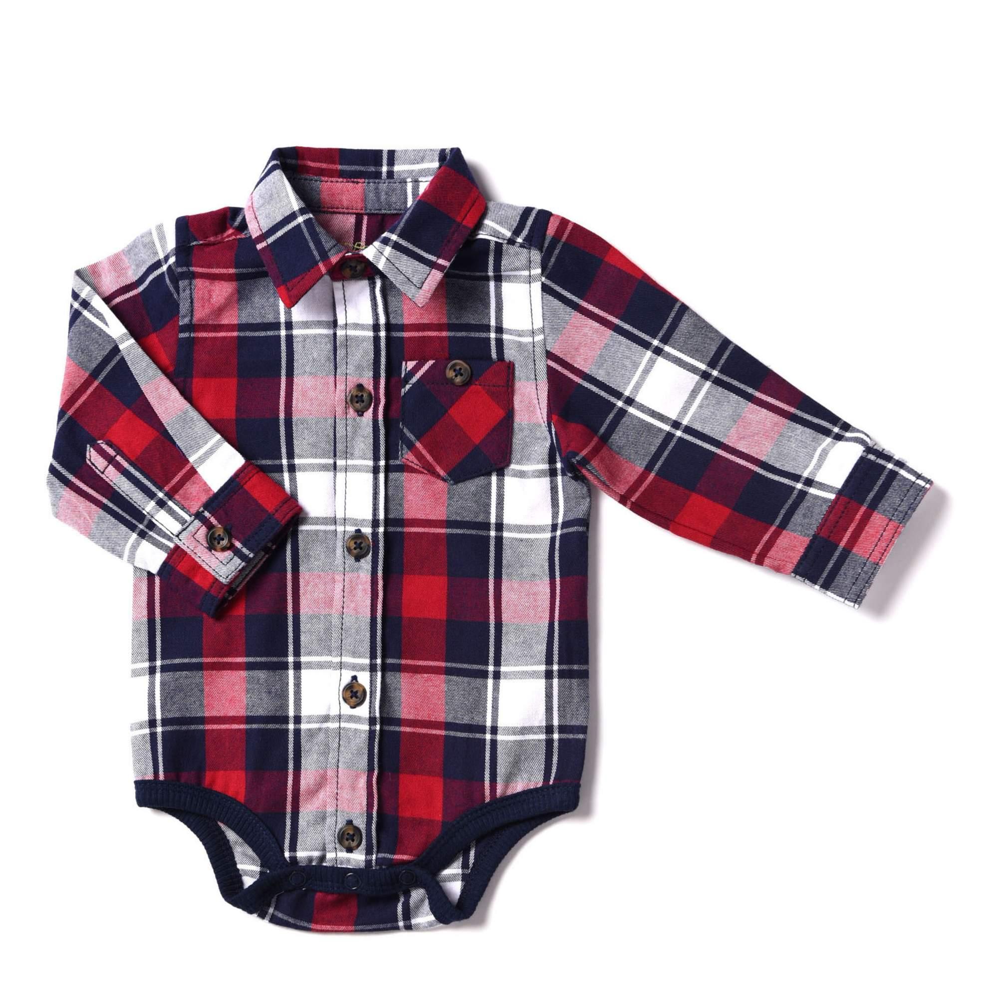 Newborn Baby Boy Flannel Plaid Bodysuit
