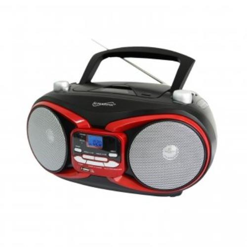 Supersonic Sc-504 Portable Audio System Mp3/cd Player With Usb/aux Inputs & Am/fm Radio - 1 X Disc - 3 W Integrated - Red Lcd - Cd-da, Mp3 - 1600 Khz, 108 Mhz - Usb - Auxiliary Input (sc504rd)