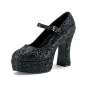Womens Mary Jane Shoes Black Platform Pumps Glitter Chunky Heel 4 Inch Heels