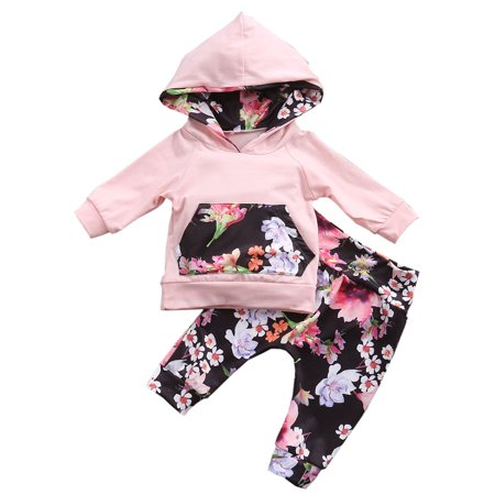 Infant Baby Girl Floral Pattern Long Sleeve Hoodie and Pants 2 pcs Cotton Outfit (70/3-6 Months, Pink/White Floral)