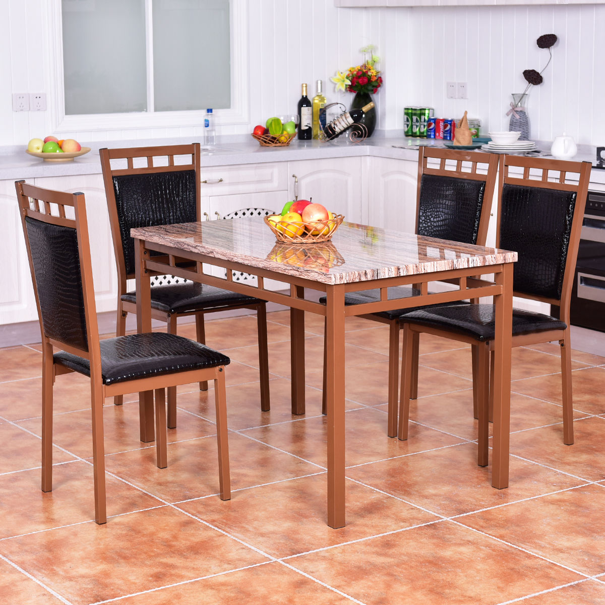 Costway 5 PC Dining Set Faux Marble Table And PU Chairs Home Kitchen Breakfast Furniture