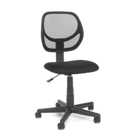 Essentials by OFM E1009 Armless Mesh Back and Fabric Task Chair, Black - Fabric Armless Task Chair