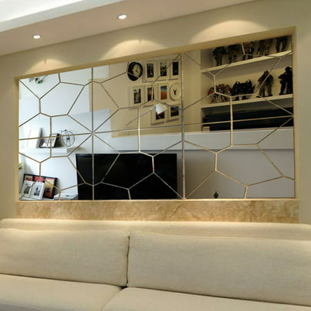 21PCS 3D Acrylic Removable Modern Mirror Decal Art Mural Wall Sticker