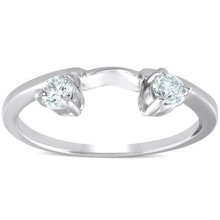 1/4ct Diamond Engagement Ring Wedding Band Enhancer 14K White -