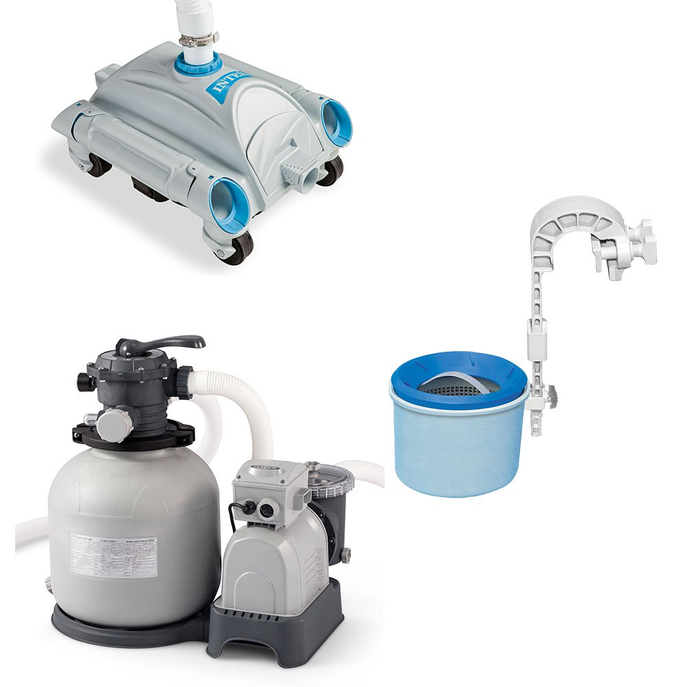 Intex Automatic Pool Vacuum, Wall Mount Surface Skimmer & Sand Filter Pump