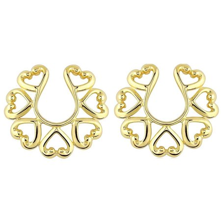 Nipple Rings non pierce Non-Piercing Clip On Gold Plate Vintage Hearts Pair Non Piercing Nipple