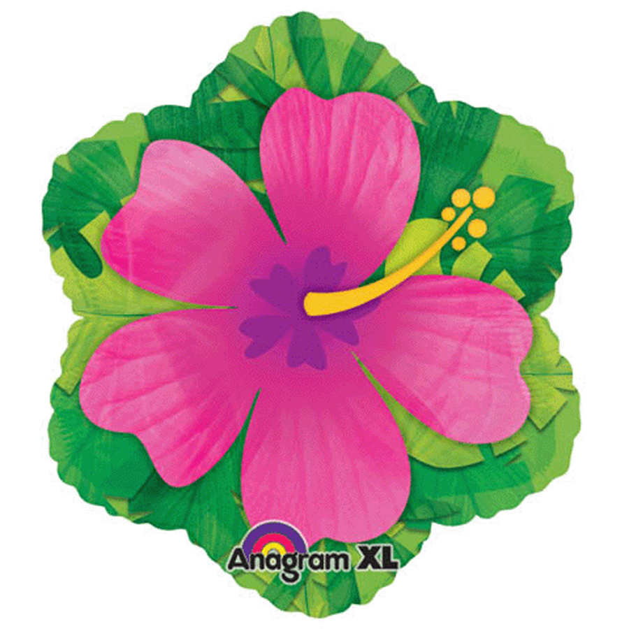 "Anagram Hibiscus Hawaiian Luau 18"" Foil Balloon, Pink Green"