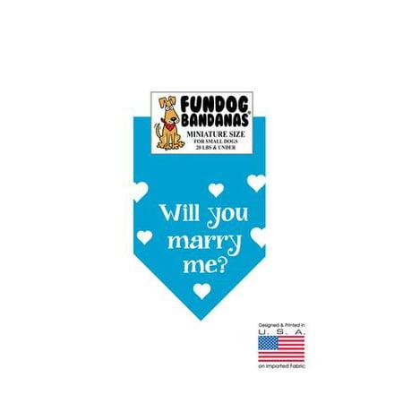 MINI Fun Dog Bandana - Will you marry me? - Taille miniature pour petits chiens de moins de 20 livres, foulard turquoise animal
