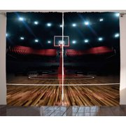 Teen Room Decor Curtains 2 Panels Set, Professional Basketball Arena Stadium before Game Championship Sports Image, Window Drapes for Living Room Bedroom, 108W X 90L Inches, Multicolor, by Ambesonne