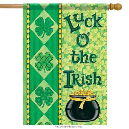 Flags Of Ireland (Irish Luck St. Patrick's Day House Flag Clover Pot of Gold Shamrock 28