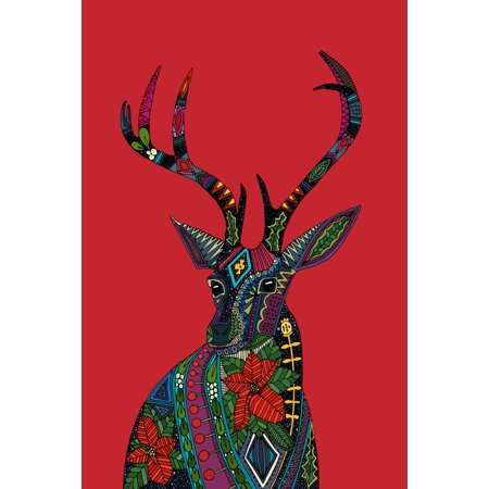 Poinsettia deer Poster Print by Sharon Turner