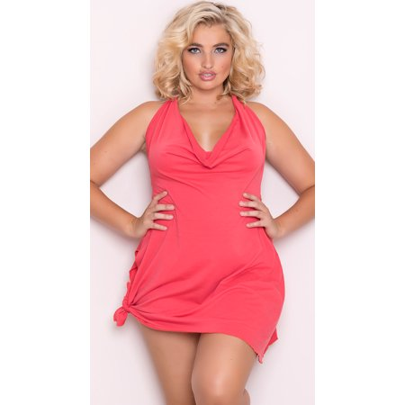 Mapale - Plus Size Side Tie Halter Dress, Plus Size Mini Dress ...