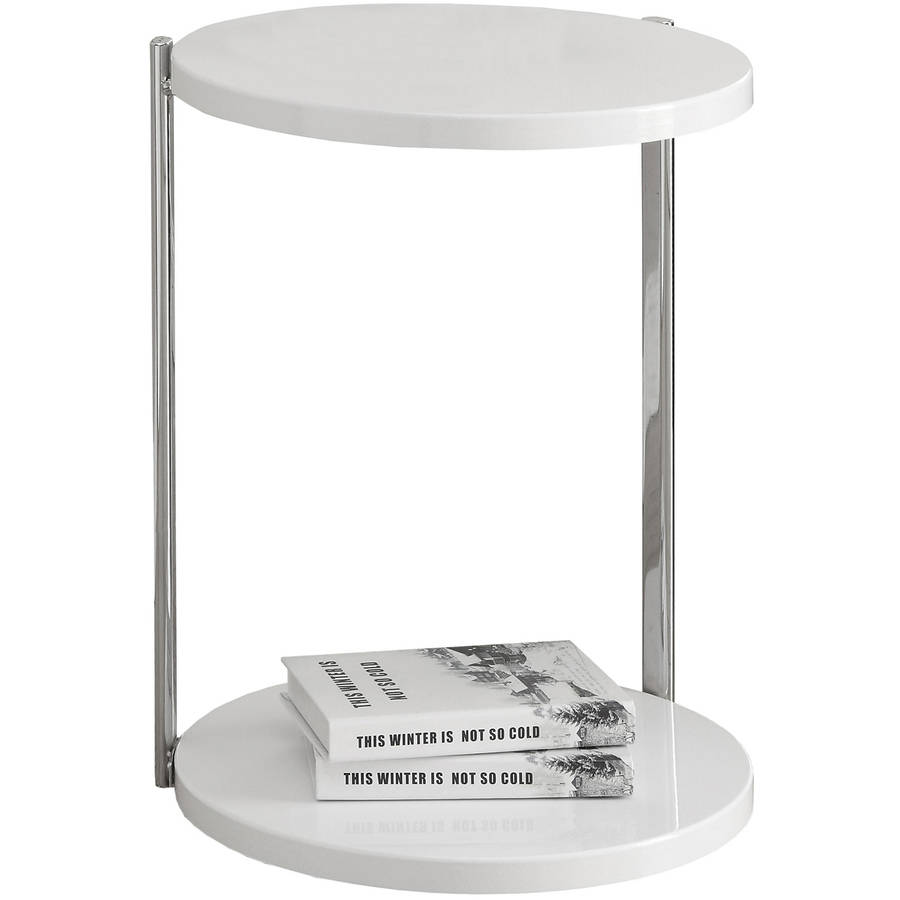 Monarch Accent Table Glossy White   Chrome Metal by Monarch Specialties