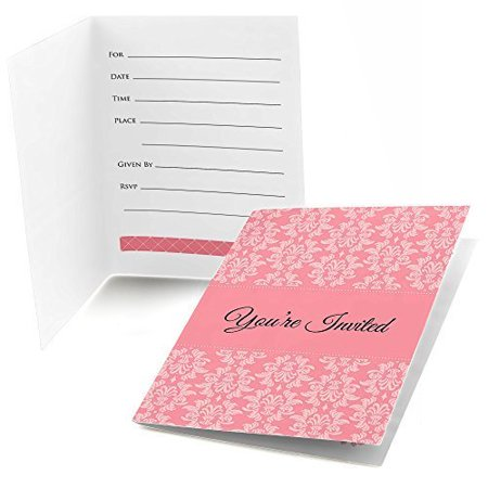 Damask pink fill in bridal shower invitations 8 count for Bridal shower fill in invitations