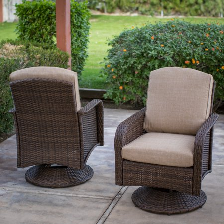 Coral Coast Tiara Garden All Weather Wicker Patio Swivel Dining Chairs - Set of