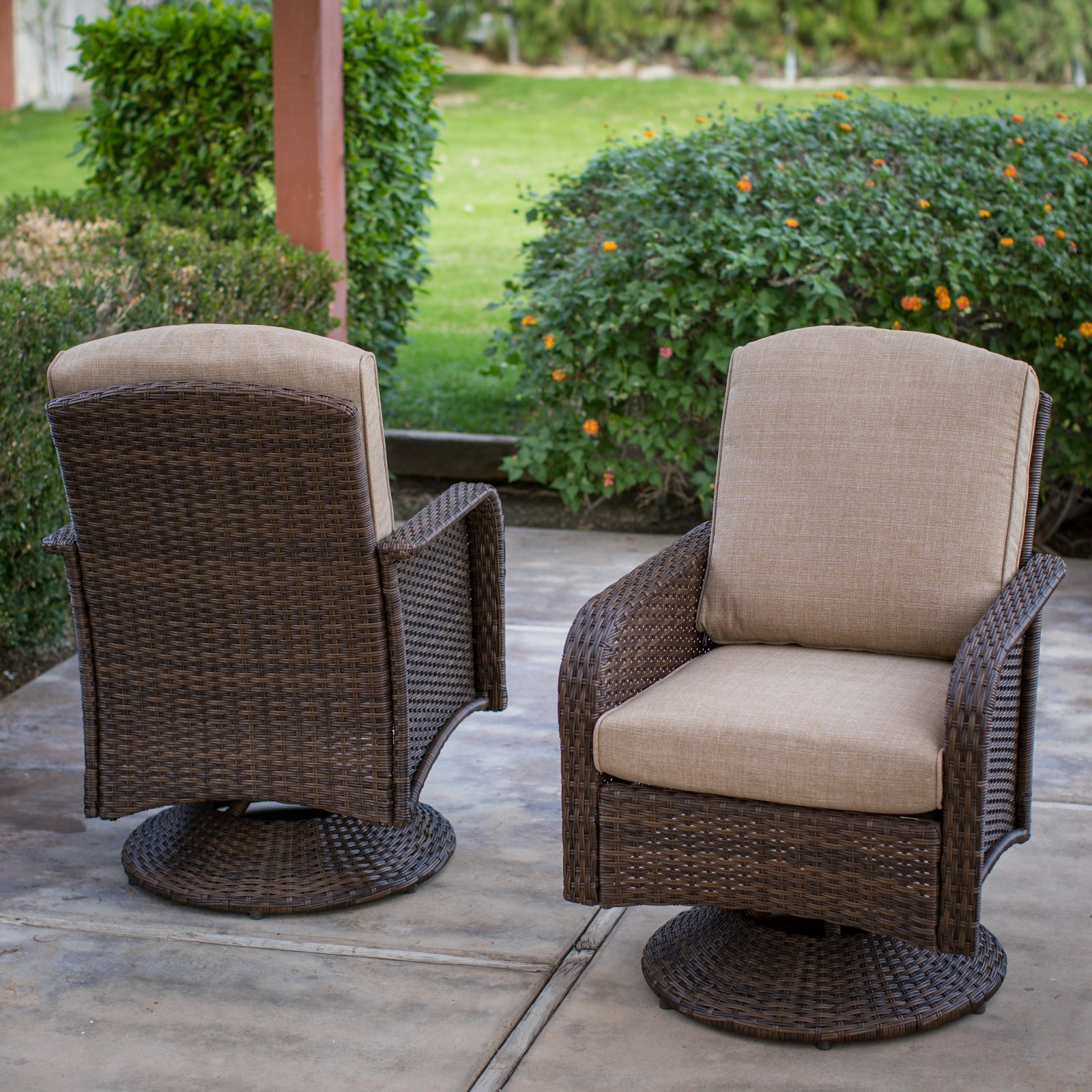 Coral Coast Tiara Garden All Weather Wicker Patio Swivel Dining Chairs    Set Of 2