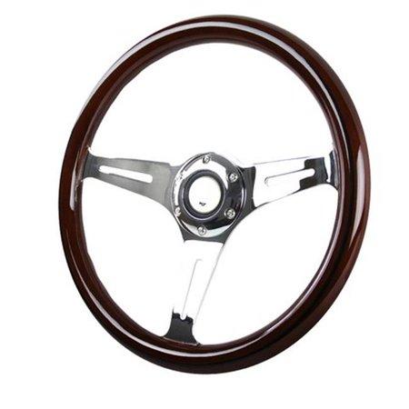 Spec-D Tuning SW-112B-W-SD 350 mm Wooden Steering Wheel for All, Black Trim - 1 x 14 x 15 in. Spec 1 Wheels