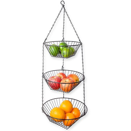 Two Tier Wire Basket (Home Basics 3 Tier Wire Hanging Kitchen Fruit Baskets -)