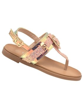 8486e3e46 Product Image Girls Pink Glitter Buckle Stud Decorated Thong Strap Sandals