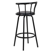 2d3fa9886e7 Flash Furniture Crown Back Black Metal Bar Stool with Black Vinyl Swivel  Seat Image 2 of