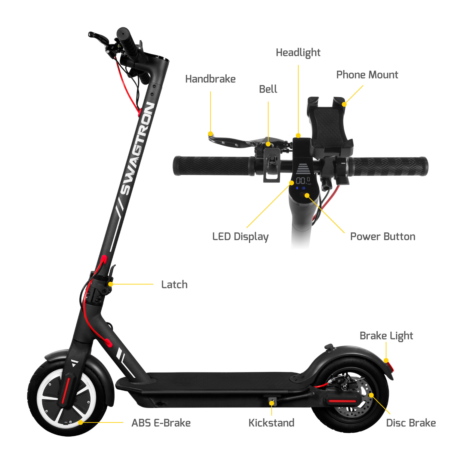 SWAGTRON Swagger Elite 5 S Foldable Electric Scooter with Upgraded 18 MPH  Top Speed & Cupholder