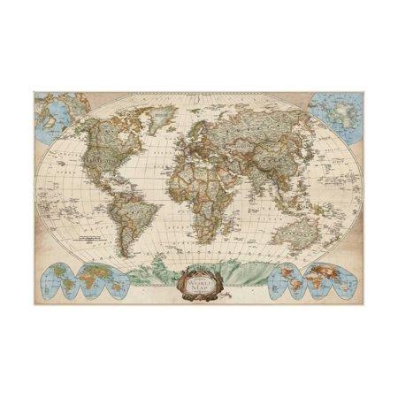 Educational World Map Antique Print Wall Art By Elizabeth -