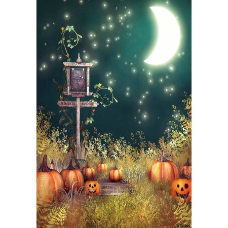 GreenDecor Polyster 5x7ft Moon Night Smile Pumpkin Sign Halloween Backdrops Photography Photo Studio - Halloween Photo Backdrops
