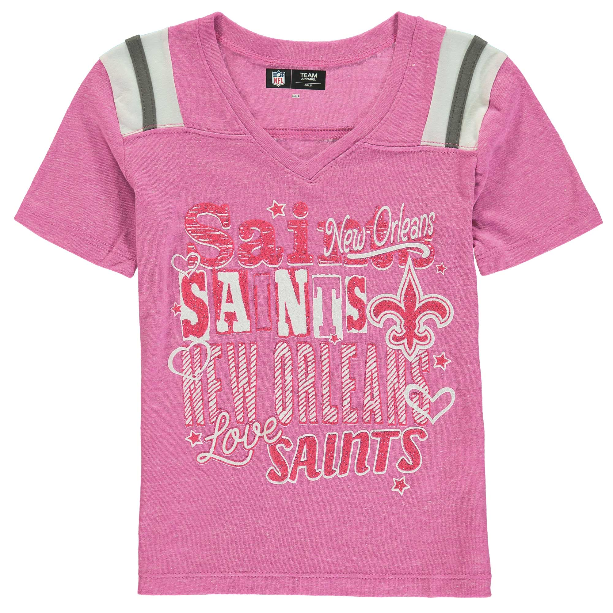 New Orleans Saints 5th & Ocean by New Era Girls Youth Love of the Game Tri-Blend V-Neck T-Shirt - Pink - Yth L