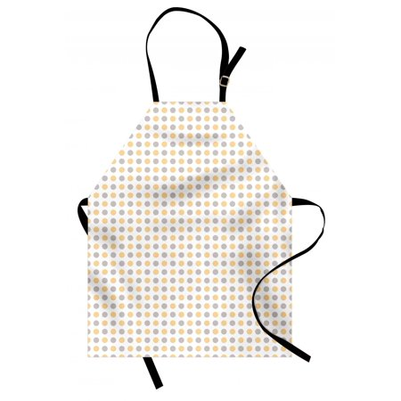 Vintage Apron Blue and Orange Dots White Background Classic Shabby Colored Pattern, Unisex Kitchen Bib Apron with Adjustable Neck for Cooking Baking Gardening, Orange White Cadet Blue, by -