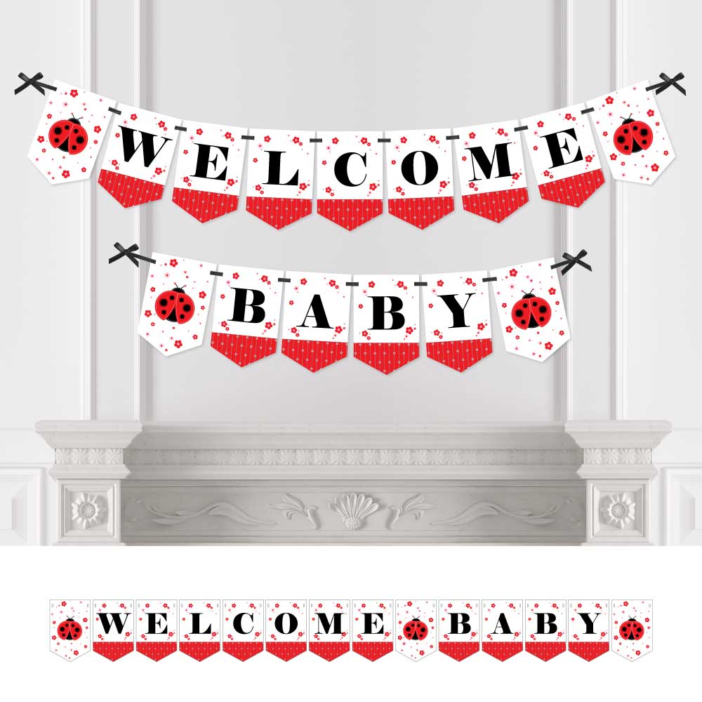 Modern Ladybug - Baby Shower Bunting Banner - Ladybug Party Decorations - Welcome Baby