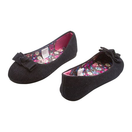 Sara Z Girls Solid Denim Ballet Flats With Solid Denim Bow Black Size 2-3