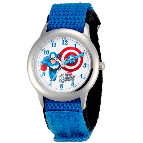 Marvel Captain America Boys' Stainless Steel Time Teacher Watch, Blue Nylon Strap