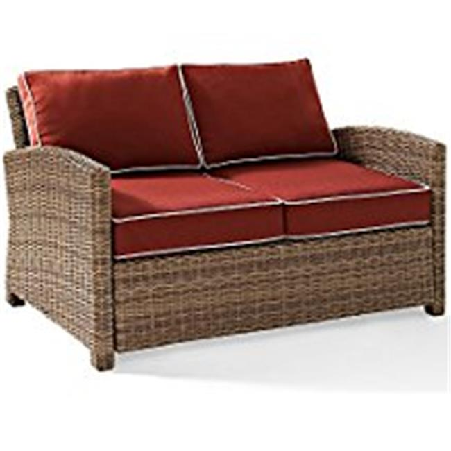 Bradenton Outdoor Wicker Loveseat, Sangria