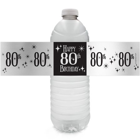 Silver Foil 80th Birthday Bottle Labels - 24ct - Black and Silver Birthday Party Supplies - 24 Count Water Bottle Stickers - 80th Birthday Party Favors
