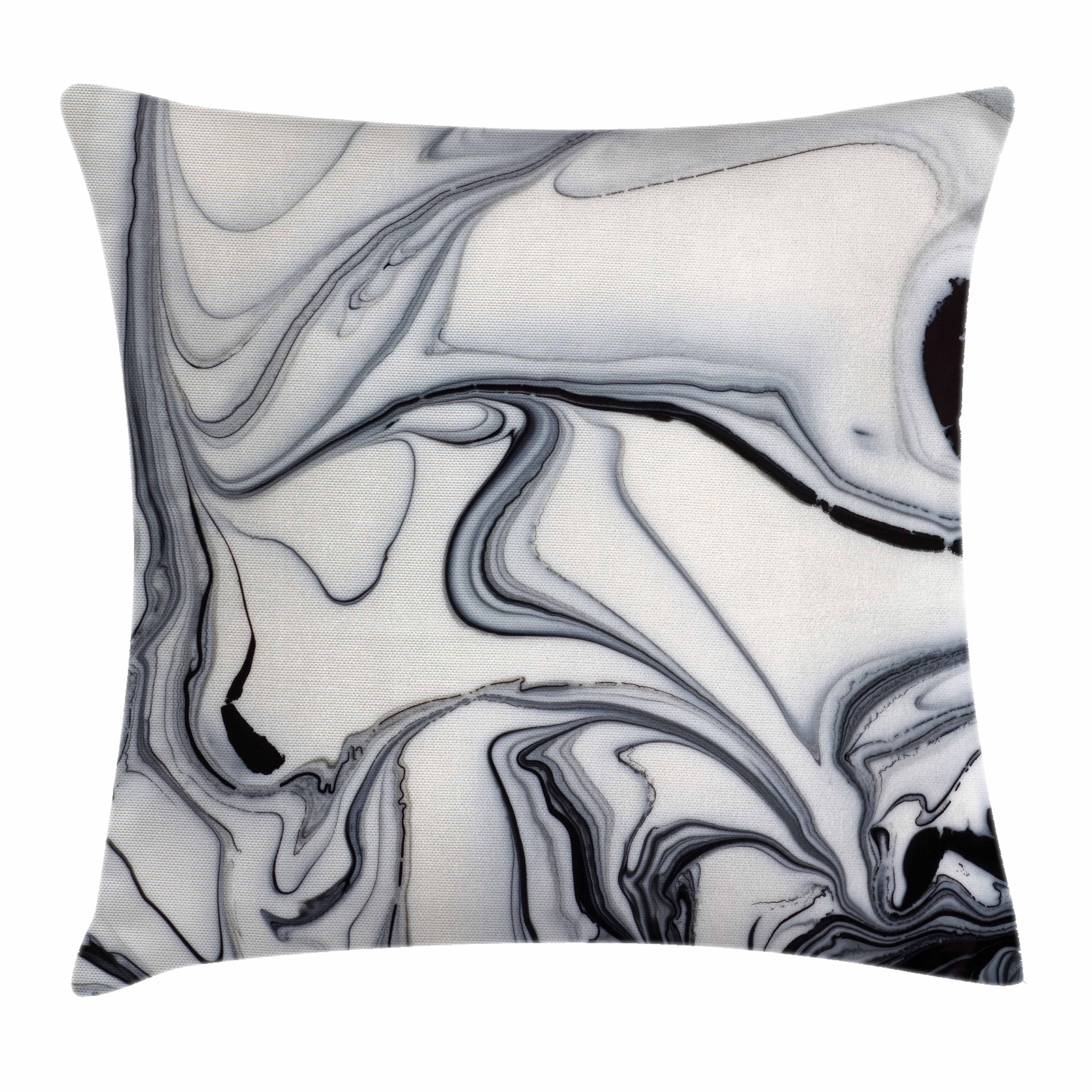 Marble Throw Pillow Cushion Cover, Trippy Mix of Colors with Unusual Forms Creative Paintbrush Style Image, Decorative Square Accent Pillow Case, 18 X 18 Inches, Black Light Grey Dust, by Ambesonne