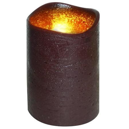 "4"" Dark Mocha Brown Lattice Design Battery Operated Flameless Flickering Wax Pillar Candle"
