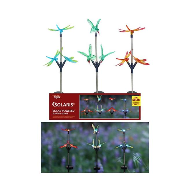 Alpine 8015837 Assorted Color Insect Trio Solar Garden Stake - Pack of 12