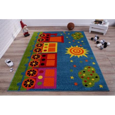 """Ladole Rugs Train and Sky Theme Cartoon Style Polypropylene Kids Area Rug Carpet in Blue and Mutlicolor, 4x6 (3'11"""" x 5'3"""", 120cm x 160cm) - image 1 of 6"""