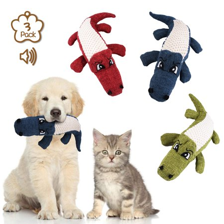 Squeaky Toys for Puppies, Value 3 Pack Set of Dog Chew Toy for Teething Chewing and Playtime, WQ827 No Stuffing Plush Animal Dog Toy Set for Small Medium Large Dog