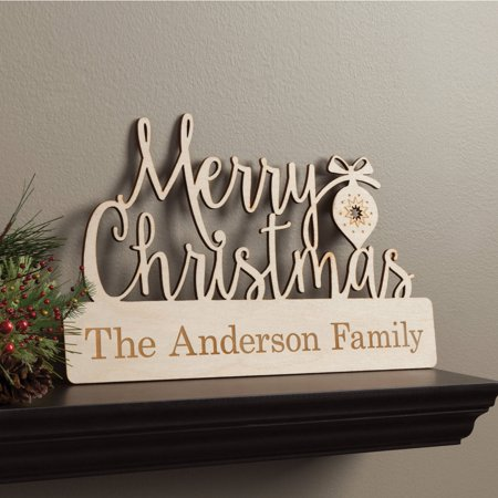 Merry Christmas Personalized Wood Plaque