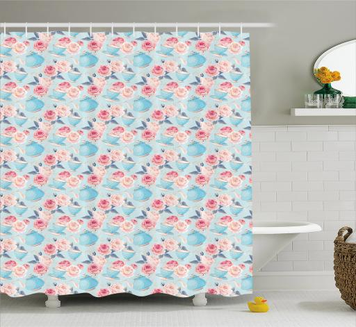 Aqua And Coral Shower Curtain Vintage Blue Shaded Teapots With Dots