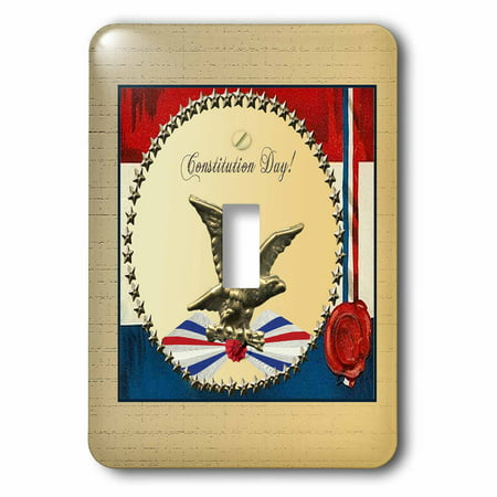 3dRose Constitution Day Bronze Eagle with Gold Stars and Patriotic Banner, Double Toggle Switch