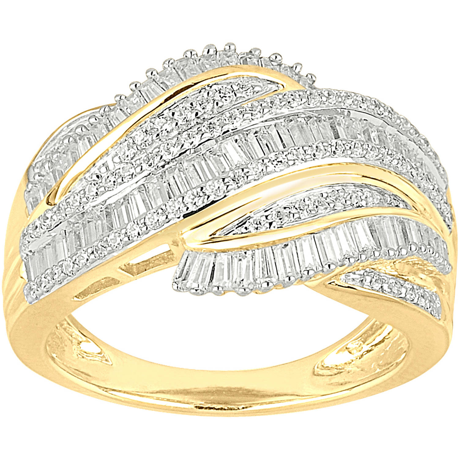 3/4 Carat T.W. Baguette and Round Diamond 10kt Yellow Gold Fashion Band
