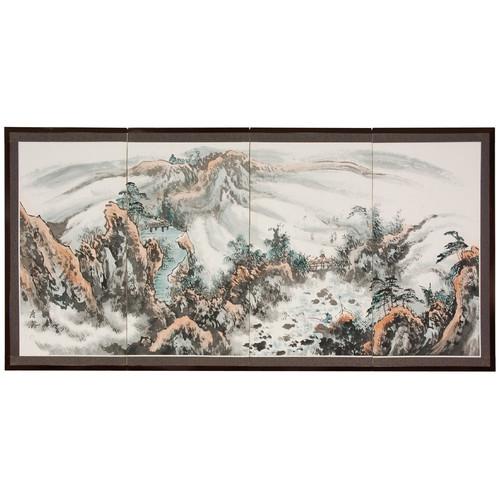 Oriental Furniture Mountaintop Landscape Silk Screen