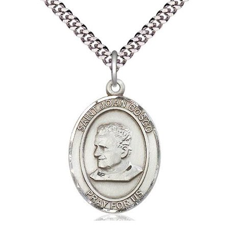 "Bliss St. John Bosco Patron Saint Medal in Sterling Silver with 24"" Light Rhodium Heavy Curb Chain"