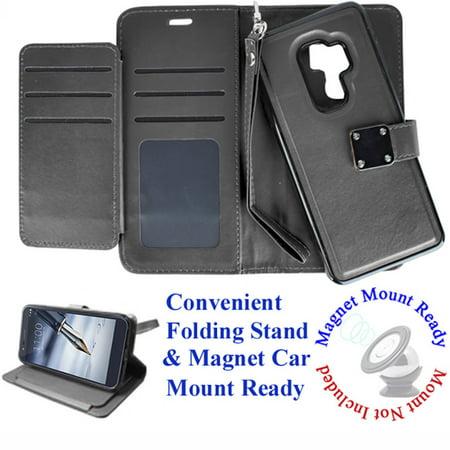 "for 6.2"" Samsung Galaxy S9 + PLUS Case Phone Case Tortilla Wallet Wrap Detachable Bumper Mag Mount Ready Extra Pocket Purse Screen Flip Cover Black"
