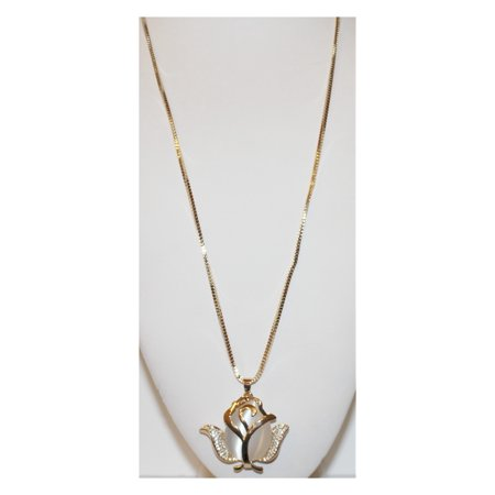 Rose with White Stone and Clear Crystals on Gold Chain W00275
