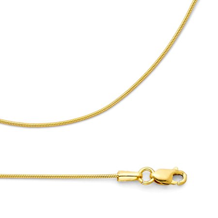 - Snake Chain Solid 14k Yellow Gold Necklace Round Diamond Cut Style Polished Genuine, 0.7 mm - 16,18,20,22 inch