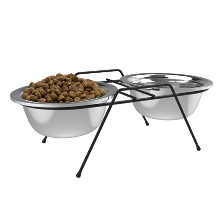 Petmaker Stainless Steel Elevated Pet Bowls with Non-Slip Iron Stand for Dogs and Cats- Raised Feeder for Food, Water with Removable Dishes (40 Oz Each) Elevated Large Dog Feeder