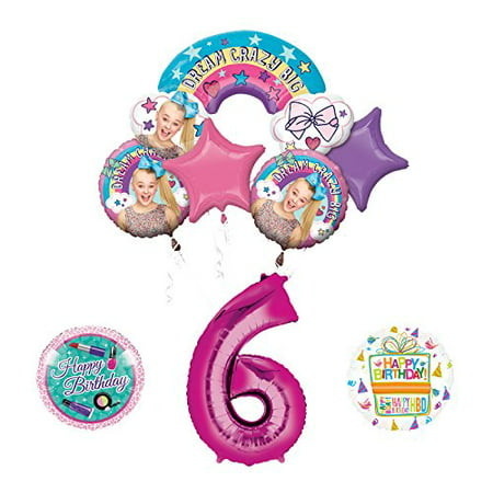 Mayflower Products JoJo Siwa 6th Birthday Balloon Bouquet Decorations and Party Supplies - Balloons And Parties